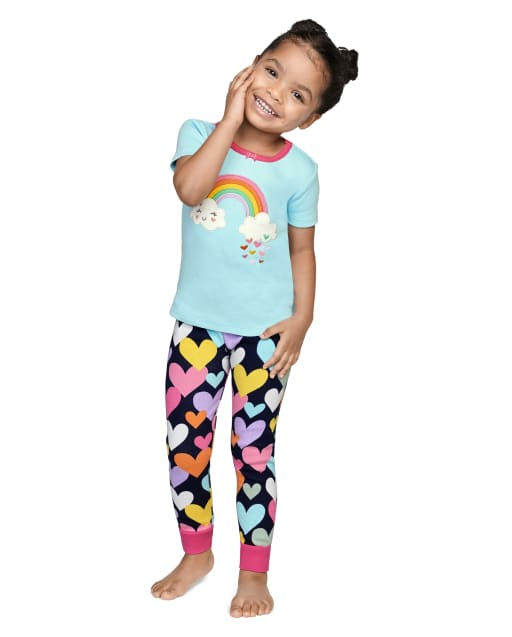 Girls Short Sleeve Sunshine Time Snug Fit Cotton 2-Piece Pajamas - Gymmies