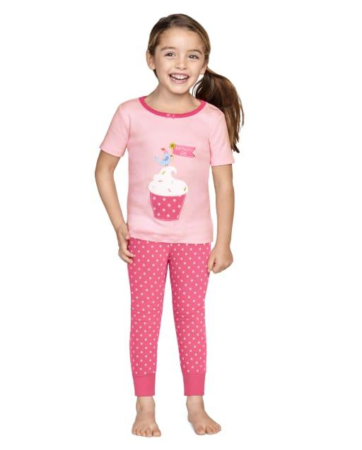 Girls Short Sleeve Birthday Boutique Snug Fit Cotton 2-Piece Pajamas - Gymmies