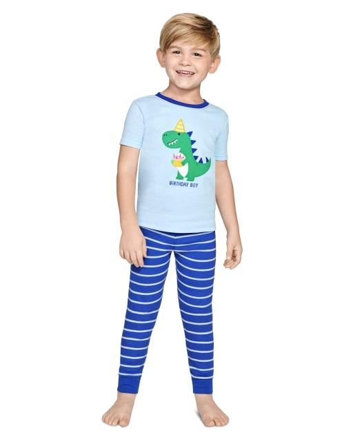 Boys Short Sleeve Birthday Snug Fit Cotton 2-Piece Pajamas - Gymmies