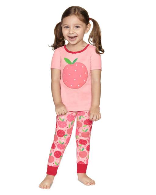 Girls Short Sleeve Pretty Peach Snug Fit Cotton 2-Piece Pajamas - Gymmies