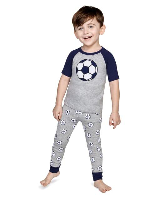 Boys Short Sleeve Ready, Set, Goal Snug Fit Cotton 2-Piece Pajamas - Gymmies