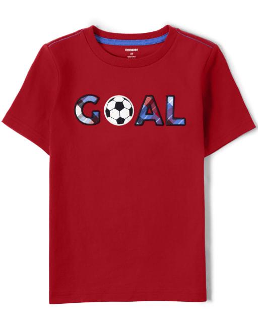 Boys Short Sleeve Embroidered 'Goal' Top - Ready, Set, Goal