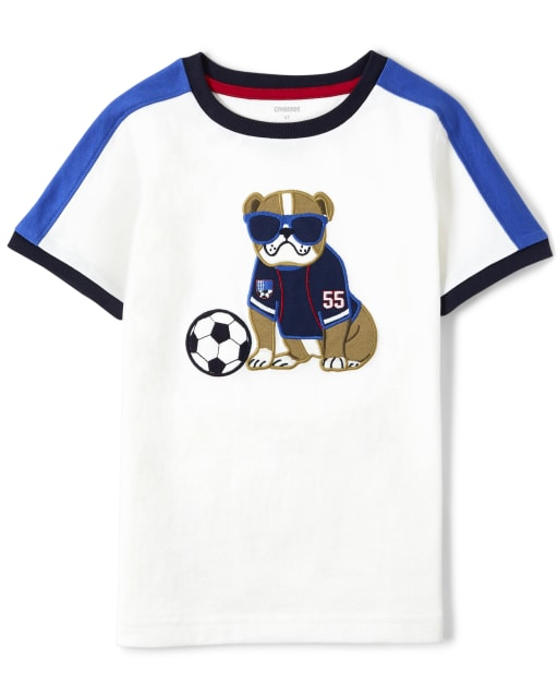 Boys Short Sleeve Embroidered Dog And Soccer Top - Ready, Set, Goal