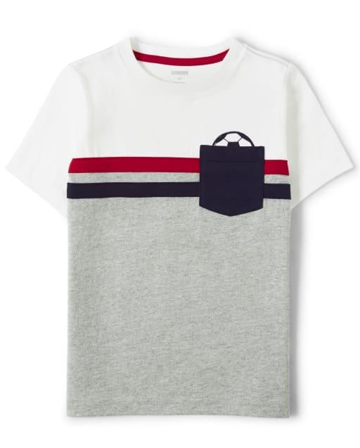 Boys Short Sleeve Colorblock Soccer Pocket Top - Ready, Set, Goal