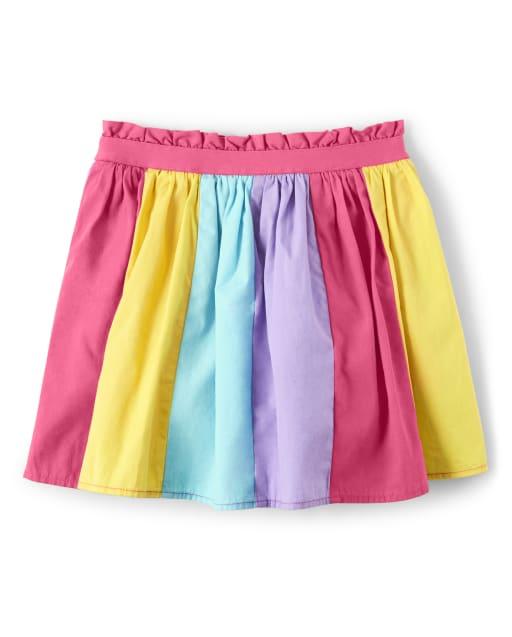 Girls Rainbow Colorblock Poplin Skort - Sunshine Time