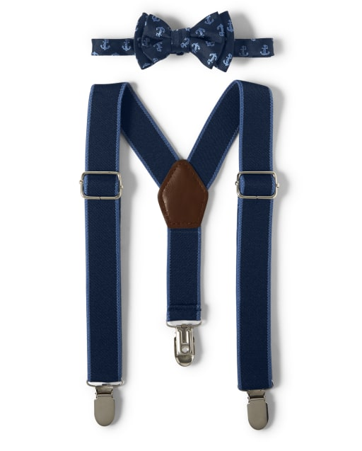 Boys Anchor Print Bow Tie And Suspenders Set - Country Club