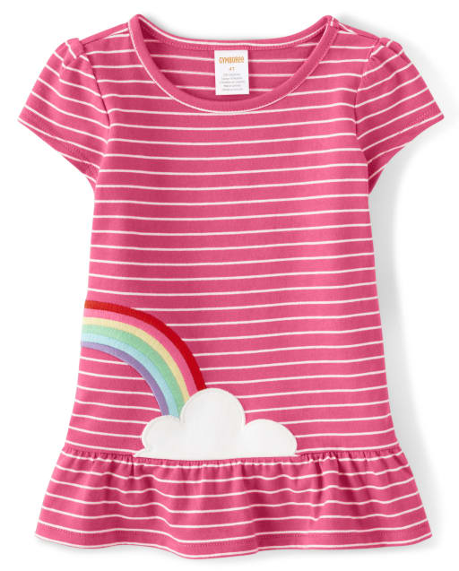 Girls Short Sleeve Embroidered Rainbow Striped Peplum Top- Sunshine Time