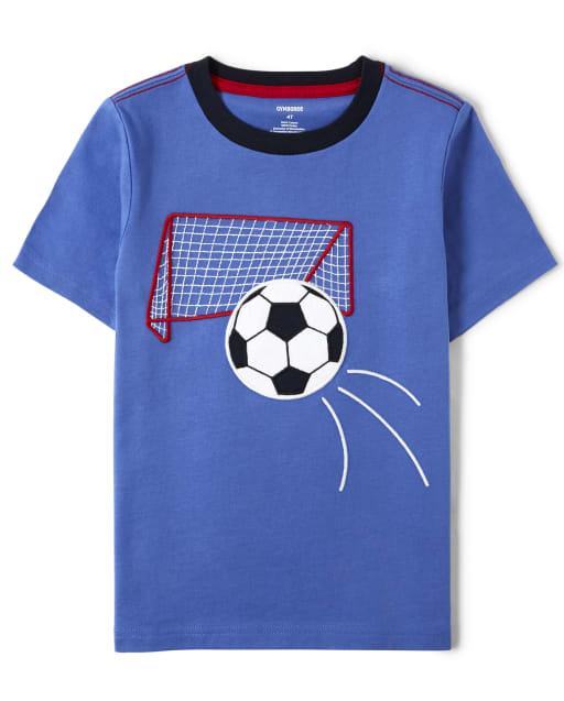 Boys Short Sleeve Embroidered Soccer Top - Ready, Set, Goal