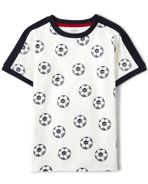 Boys Short Sleeve Soccer Print Top - Ready, Set, Goal