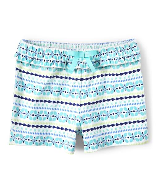 Girls Striped Print Knit Ruffle Bow Shorts - Island Getaway