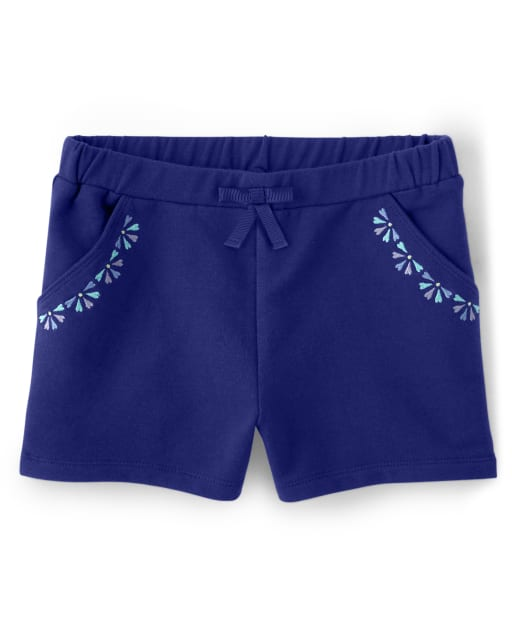 Girls Embroidered Floral Medallion Knit Bow Shorts - Island Getaway