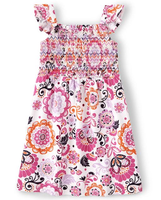 Girls Short Flutter Sleeve Floral Print Knit Smocked Dress - Summer Sunsets