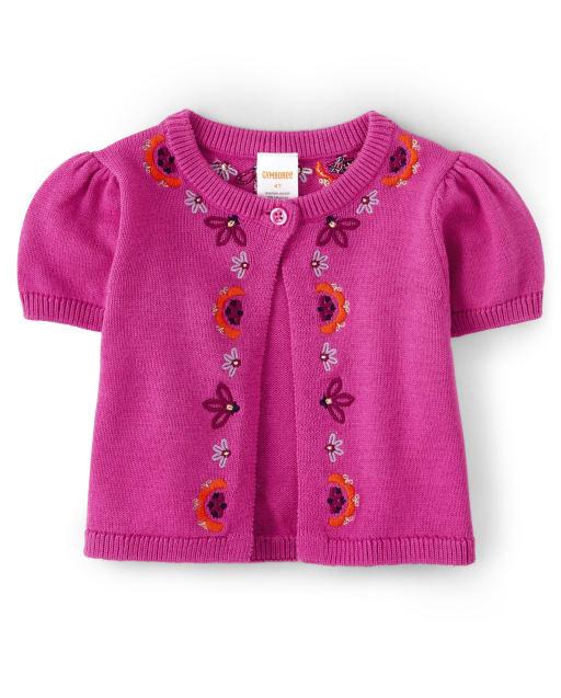 Girls Short Sleeve Embroidered Floral Shrug - Summer Sunsets