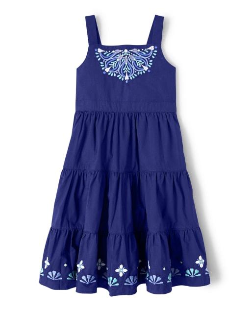 Girls Sleeveless Embroidered Poplin Tiered Dress - Island Getaway