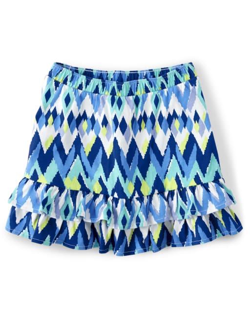 Girls Ikat Print Knit Ruffle Tiered Skort - Island Getaway