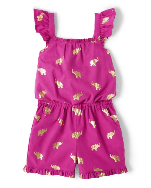 Girls Short Flutter Sleeve Elephant Print Poplin Romper - Summer Sunsets