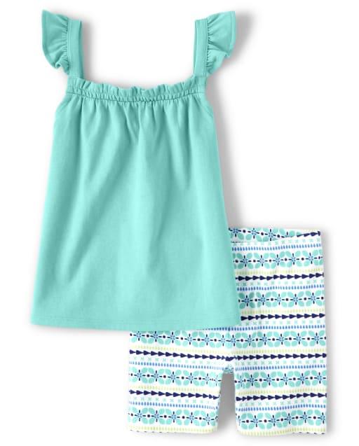 Girls Short Flutter Smocked Ruffle Top And Striped Print Knit Bike Shorts Set - Island Getaway