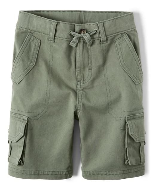 Boys French Terry Knit Cargo Shorts - Safari Camp