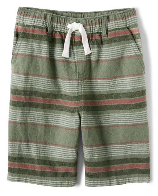 Boys Striped Linen Woven Pull On Shorts - Safari Camp