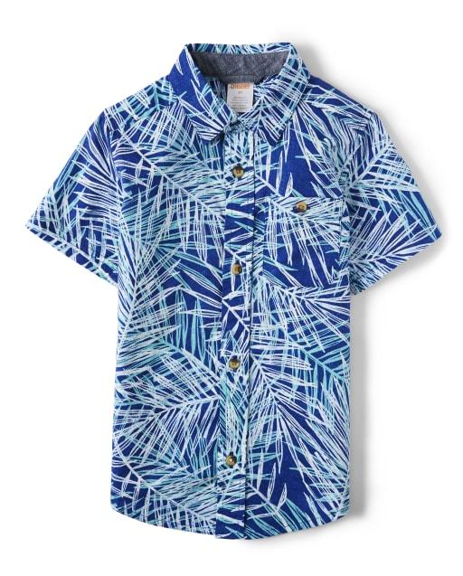 Boys Short Sleeve Palm Leaf Print Button Up Shirt - Island Getaway