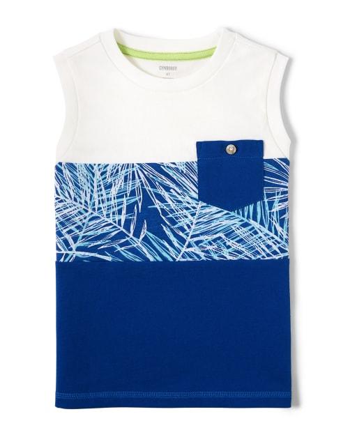 Boys Sleeveless Palm Leaf Print And Colorblock Tank Top - Island Getaway