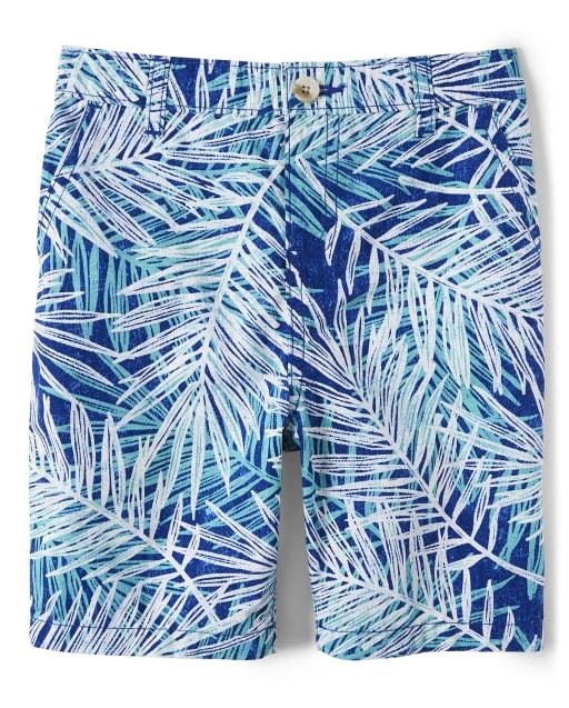 Boys Palm Leaf Print Woven Chino Shorts - Island Getaway