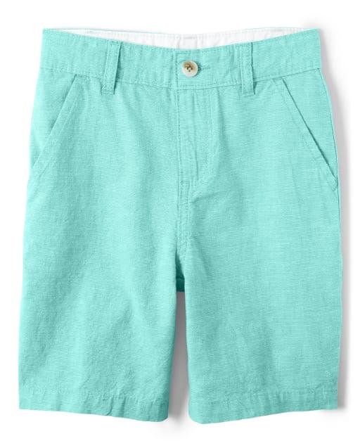 Boys Striped Linen Woven Chino Shorts - Island Getaway