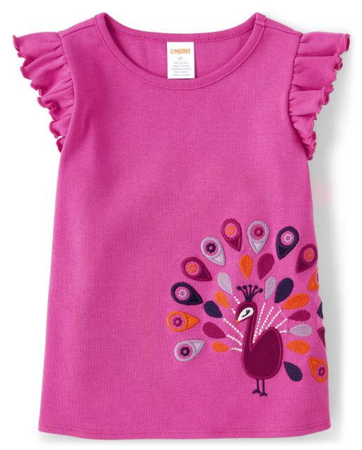 Girls Short Flutter Sleeve Embroidered Peacock Top - Summer Sunsets