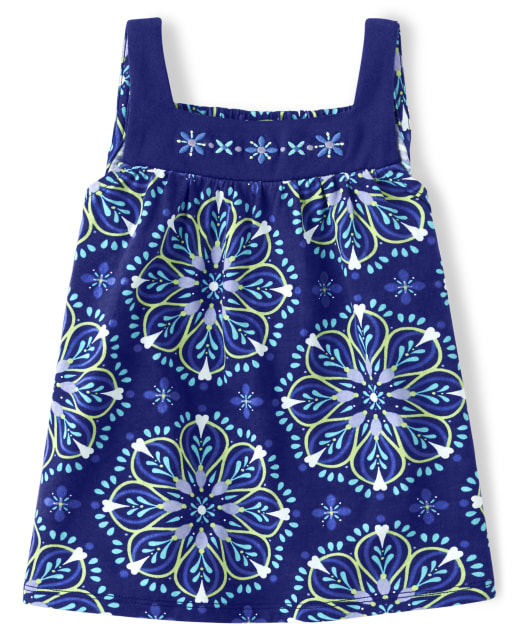 Girls Sleeveless Floral Medallion Print And Embroidered Top - Island Getaway