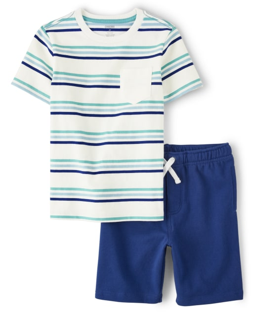 Boys Short Sleeve Striped Pocket Top And French Terry Knit Pull On Shorts Set - Island Getaway