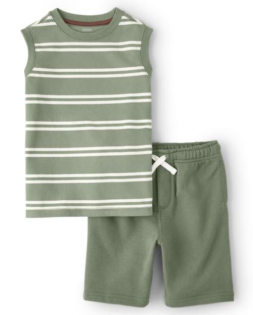 Boys Sleeveless Striped Tank Top And Knit Pull On Shorts Set - Safari Camp