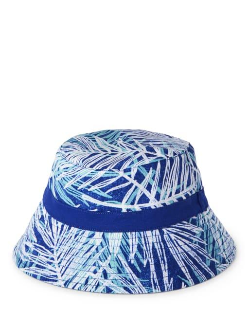 Boys Palm Leaf Print Reversible Bucket Hat - Island Getaway