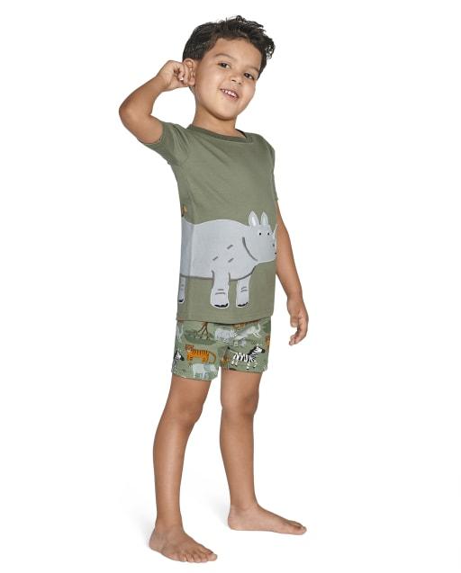 Boys Short Sleeve Safari Cotton 2-Piece Pajamas - Gymmies