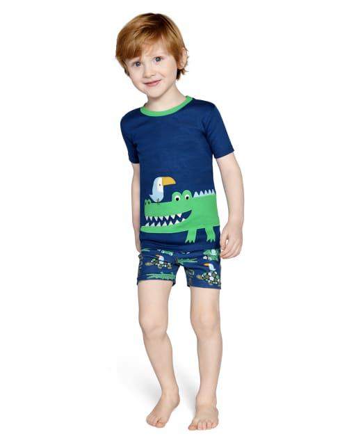 Boys Short Sleeve Alligator Cotton 2-Piece Pajamas - Gymmies