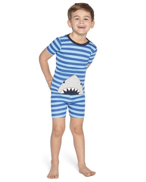 Boys Short Sleeve Shark And Striped Cotton 2-Piece Pajamas - Gymmies