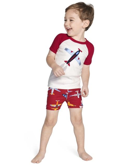 Boys Short Sleeve Airplane Cotton 2-Piece Pajamas - Gymmies
