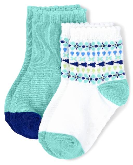 Girls Striped Print And Solid Midi Socks 2-Pack - Island Getaway