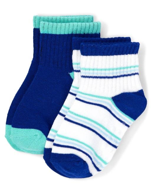 Boys Striped And Solid Midi Socks 2-Pack - Island Getaway