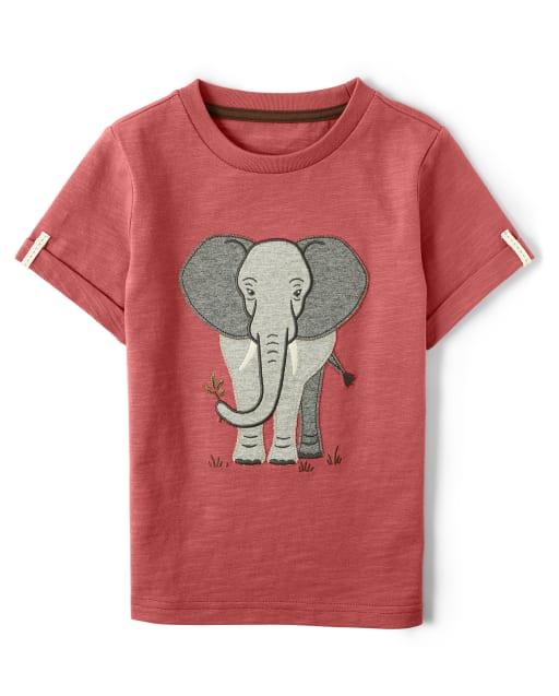 Boys Short Sleeve Embroidered Elephant Top - Safari Camp