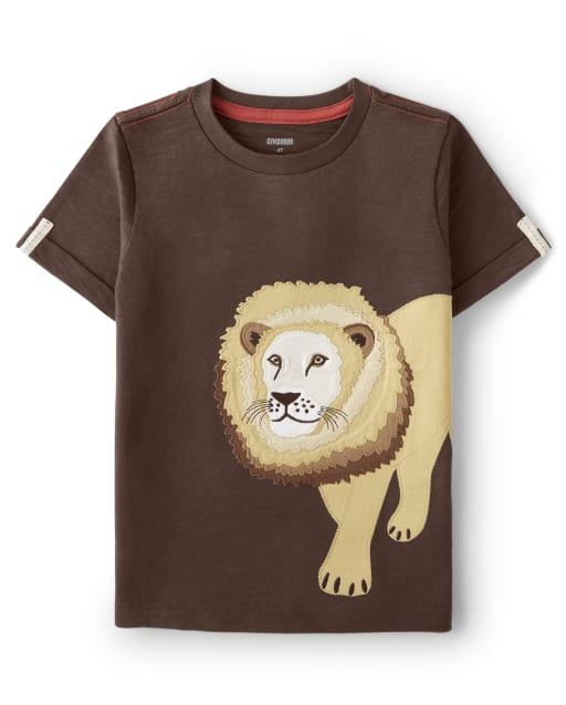 Boys Short Sleeve Embroidered Lion Top - Safari Camp