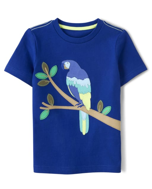 Boys Short Sleeve Embroidered Parrot Top - Island Getaway
