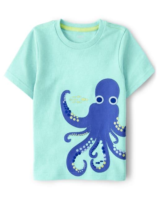 Boys Short Sleeve Embroidered Octopus Top - Island Getaway