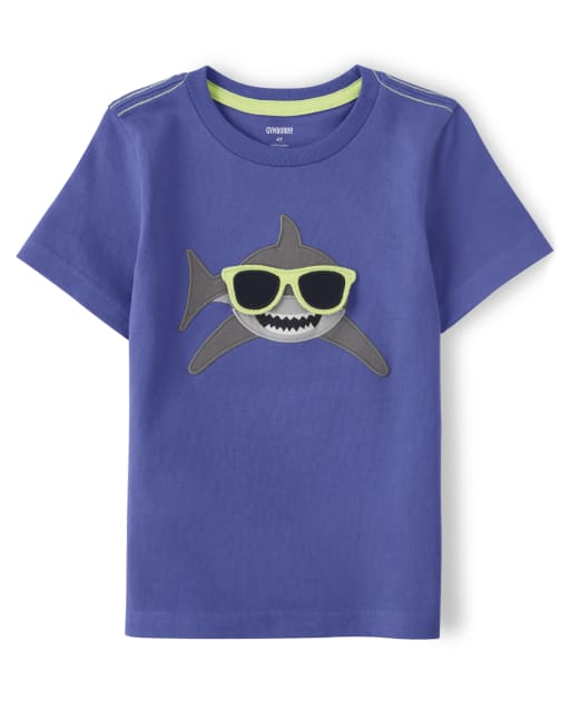 Boys Short Sleeve Peek-A-Boo Flap Art Embroidered Shark Top - Island Getaway