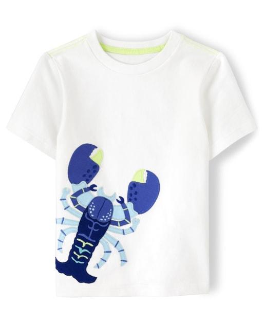 Boys Short Sleeve Embroidered Lobster Top - Island Getaway