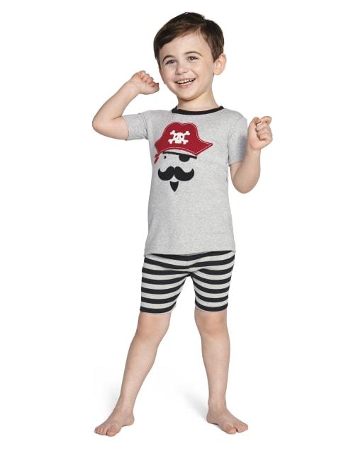 Boys Short Sleeve Pirate An Striped Cotton 2-Piece Pajamas - Gymmies
