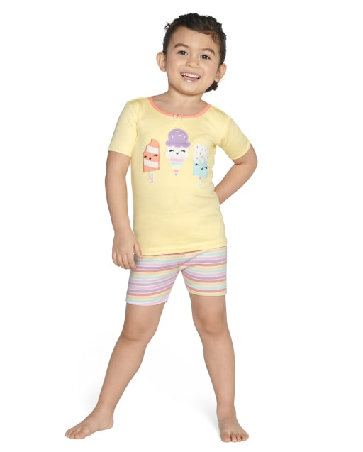 Girls Short Sleeve Ice Cream And Striped Cotton 2-Piece Pajamas - Gymmies
