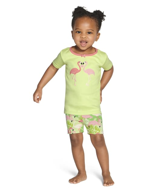 Girls Short Sleeve Flamingo And Leaf Cotton 2-Piece Pajamas - Gymmies