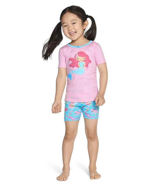 Girls Short Sleeve Mermaid Cotton 2-Piece Pajamas - Gymmies