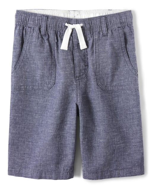 Boys Linen Woven Pull On Shorts - Island Getaway