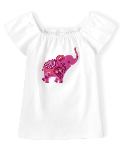 Girls Short Flutter Sleeve Embroidered Elephant Top - Summer Sunsets
